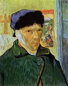 minus going insane cutting off ear-Vincent van Gogh - Self Portrait with Badaged Ear - Van Gogh, oil paintings on canvas.