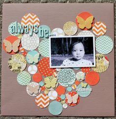 Hearts, circles, and butterflies scrapbooking layout