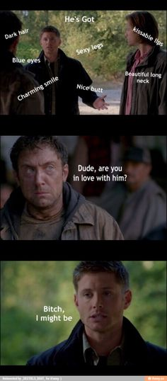 Destiel. If this ship was blatant canon, this is exactly how Dean would respond.