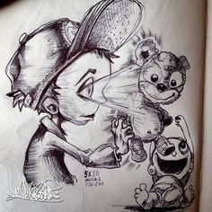 #artistdanielquinones on Instagram. I drew this with a Bic Pen on March 2 my 5 of 30 started at 1:36 stopped at 2:06 // JOIN US & HASH-TAG #mloveizm30 illustration, comic, art, ink, tattoo, lowbrow, sketch, bic pen, graffiti, fantasy art, skull, cool art