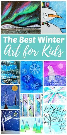 Need some progressive art for kindergarten, first grade or second grade kids to do during this holiday winter season? This roundup has some gorgeous snowy night art that kids will love! #kidsartprojects #winterart