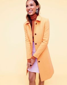Color in winter!!!!!, J.Crew women's double-cloth Lady Day Coat with Thinsulate®.