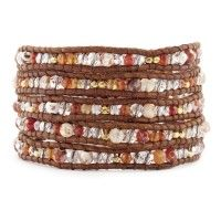Red Fire Agate Mix Wrap Bracelet on Natural Brown Leather $295.00