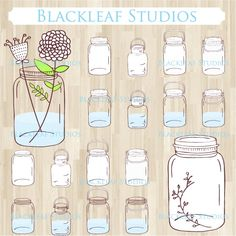 Mason Jars Hand Drawn Vintage Glass Bottles Clip Art - great for scrapbooking, wedding design elements, logos, blog elements and more.