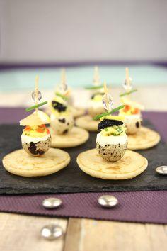 Sucette d'oeufs de caille aux oeufs de lompes. #christmas #food #idea #egg