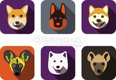 Dog face flat vectors