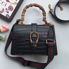 e2ce94119a6 Dionysus Croco Leather Top Handle Bag Black 448075