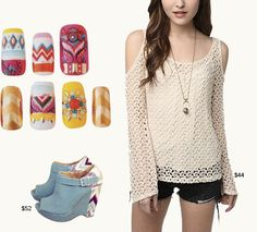 Ethical Chic - aztec Nails + urban outfitter cut out shoulder embroidered top + spool72 wedges