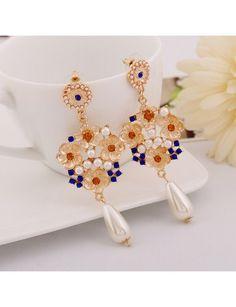 Pearl Rhinestone Embellished Flowers Pattern Long Earrings Blue YW15041604-1.http://www.clothing-dropship.com