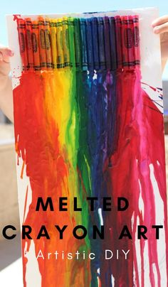 Melted Crayon Art The hot new trend for colorful artwork. #crayons #diyart #meltedcrayons #thefurgalnavywife | DIY Crafts | Crayon Crafts for Kids | Parenting | Home Decor |