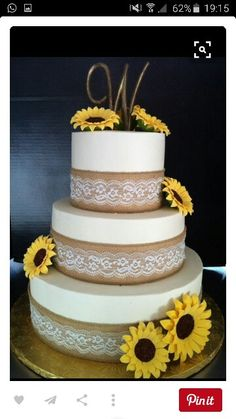 Love Wedding Cakes Burlap And Lace Sunflower Cake