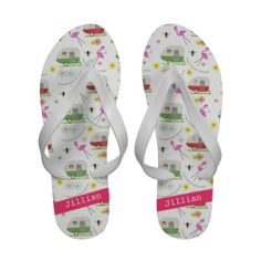 oh, look...for you AND me!  Vintage Trailers & Flamingos Personalized Sandals