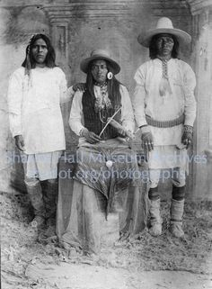 Apache men, one playing Apache violin, San Carlos Reservation, Arizona, C.1880: