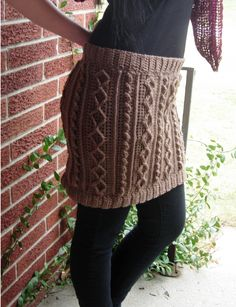 Cabled Cowl - 7 Patterns in One! by Mary Jane Hall Shown here as a skirt (cowl, hood, capelet, skirt, Tube Top, Tote Bag and Pillow Cover) all for the price of one.- For Sale