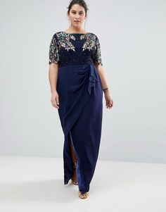 eda0bd485c4 Virgos Lounge Plus Ariann Embellished Maxi Dress With Frill Wrap Skirt