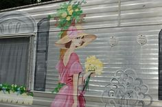 cute graphics on vintage trailer