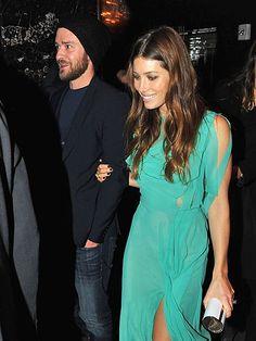 Jessica Biel + mint green Nina Ricciand. that arm candy, ain't so bad either!