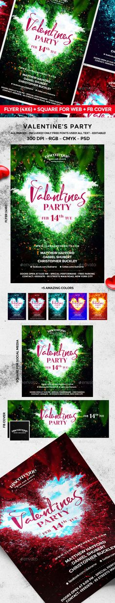 Valentines Day Party Poster / Flyer | Valentines, Valentines Day