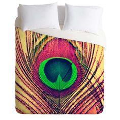 Duvet Cover. Bedroom Decor. Peacock Feather Bedding. Peacock