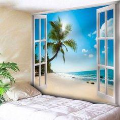 Window Beach Print Wall Hanging Microfiber Tapestry
