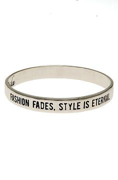 Ettika Bangle Fashion Fades, Style Is Eternal in Sterling Silver.  Love this!  Karma loop.  Rep code = 48302.