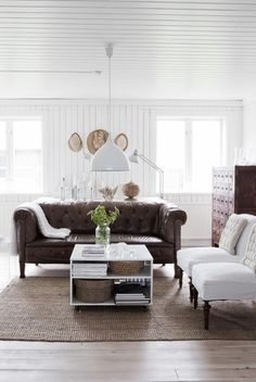 my scandinavian home: A beautifully renovated Swedish farmhouse. That brown leather couch. My Living Room, Home And Living, Living Room Decor, Living Spaces, Cozy Living, Coastal Living, Small Living, Farmhouse Interior, Home Interior