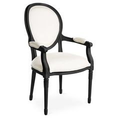 Check Out This Item At One Kings Lane! Melrose Outdoor Armchair, Black/White
