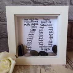 Personalised birthday frames available for all ages, view my shop to see all the different designs. Word Art Design, Coffee Cookies, 70th Birthday Gifts, Birthday Frames, Box Frames, Different Colors, I Shop, Knitting, Turning