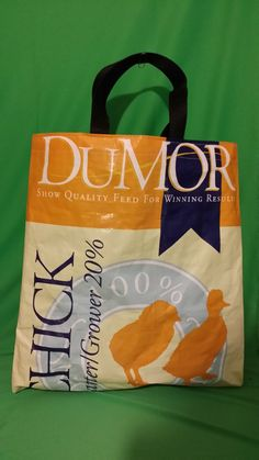 Recycled Feed Bag Tote  Yellow Dumor Chick Feed  by FeedBagTote