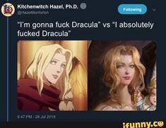 """I'm gonna fuck Dracula"" vs ""I absolutely fucked Dracula"" - iFunny :) Dracula Castlevania, Alucard Castlevania, Castlevania Netflix, Funny Memes, Hilarious, Nerd Humor, Science Humor, Twisted Humor, Funny Comics"