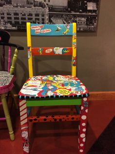 Dr. Suess Chair decopauged Decoupage Furniture, Hand Painted Furniture, Furniture Projects, Kids Furniture, Dr Seuss Chairs, Painted Stools, Painted Wood, Authors Chair, Teacher Chairs