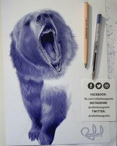 Progress. [S13X25:54] #Drawing #Ink #Bear #Grizzly #rafaelxaugusto
