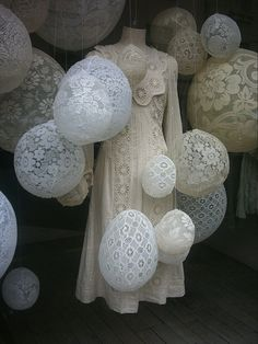 Great way to display lace. Cover balloon with lace  glue. Let dry. Viola, beautiful balloons.