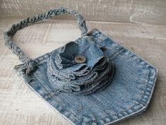 Repurposed Denim Flower Pocket Purse