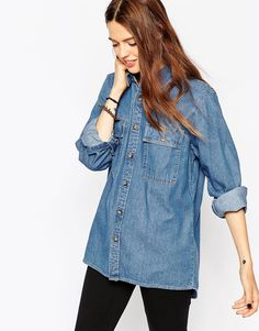 ASOS+Denim+Boyfriend+Shirt+in+Mid+Vintage+Wash