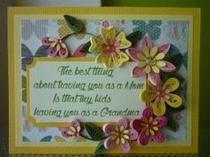 Handmade Greeting Yellow Pink Paper Quilling Card with Quilled Flowers (Birthday, Mother's day)
