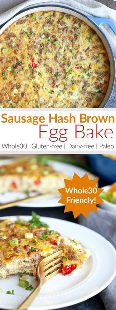 WHOLE30 SAUSAGE HASH BROWN EGG BAKE | This easy and delicious Whole30 compliant Sausage Hash Brown Egg Bake is made with less than 10 ingredients! It's a dish the whole family will love! Serve it for breakfast, brunch or even a weeknight dinner... because everyone loves breakfast for dinner. http://therealfoodrds.com/sausage-hash-brown-egg-bake/