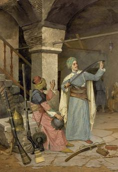 1908 painting of Osman Hamdi Bey showing a Turkish soldier examining a sword in a weapons shop during the Napoleon invasions of palestine. Portrait Photos, Empire Ottoman, Exotic Art, Pics Art, Turkish Art, Art Database, Art Graphique, Art Plastique, Islamic Art