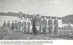 ROTC members receiving honors on parade grounds behind Hayward Field in 1937.  From the 1937 Oregana (University of Oregon yearbook).  www.CampusAttic.com