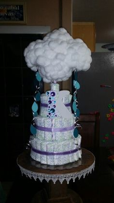 Clouds/Raindrops themed baby shower Diaper Cake for baby girl using Honest Diapers!