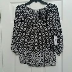 On vacation! Brand new Peasant top Available 12/14. Will hold please leave comment. New with tags. Black and white with tie neck and a few buttons. Pretty design. chaus ny Tops Blouses