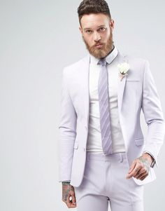 ASOS WEDDING Super Skinny Suit In Lilac