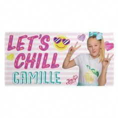 """Spend a day at the beach with JoJo Siwa and soak up the sun in style with the Let's Chill Beach Towel. This fabulous towel features the phrase """"Let's Chill"""" next to the superstar herself, JoJo Siwa, and can be personalized. Jojo Siwa Birthday, Nickelodeon Shows, Disney Pixar Up, Baby Invitations, Buy Buy Baby, Personalized Baby Gifts, Inspirational Message, Beach Towel, Little Ones"""