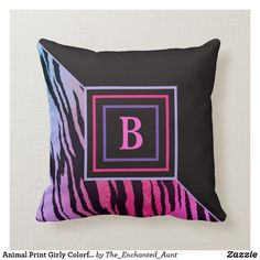 Animal Print Girly Colorful Pink Tiger Monogram Throw Pillow.  This cool pink tiger animal print throw pillow is great for finishing off any living space. Great for living rooms, bedrooms, home offices, and more! Customize this colorful pillow with your monogram initial. #throwpillows #homedecor #animaldesign #decorativethrowpillow #animalsprint #animalpattern #monogramideas