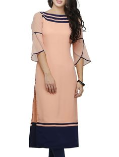 Buy Ojjasvi peach georgette a line kurta Online, , LimeRoad Kurti Sleeves Design, Kurta Neck Design, Sleeves Designs For Dresses, Dress Neck Designs, Sleeve Designs For Kurtis, Chudidhar Neck Designs, Simple Kurti Designs, Stylish Dress Designs, Stylish Dresses
