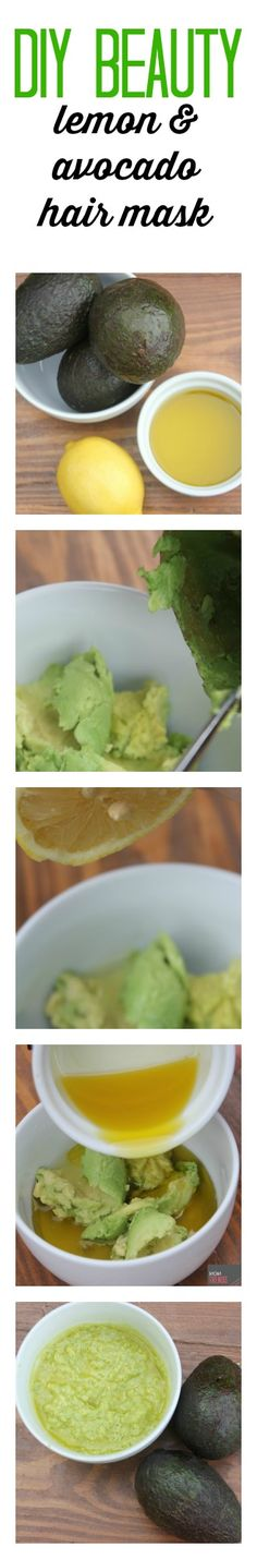 DIY lemon and avocado hair mask, requires three ingredients…lemon, avocado and extra virgin olive oil! The main ingredient is avocado.  Super moisturizing! The fat from the avocado and the oil in the olive oil coat your hair delivering hydration and smoothing properties, resulting in soft, shiny tresses.