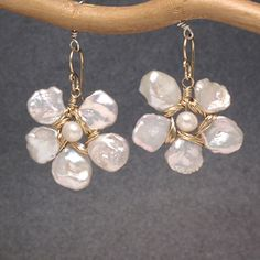 Classic creamy organic Keshi pearl flower earrings with choice of center gemstone Cosmopolitan 52