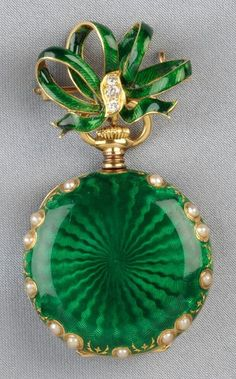 ♥ ~ ♥ Green ♥ ~ ♥ Antique Gold, Enamel, and Split Pearl Pendant Watch, Tiffany & Co. Antique Watches, Antique Clocks, Vintage Watches, Antique Jewelry, Vintage Jewelry, Use E Abuse, Pearl Pendant, Pendant Watch, Pocket Watch Antique