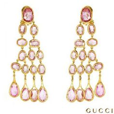 I checked out GUCCI Sapphire 18K Gold Chandelier Earrings on Lish, $8,892.72 USD
