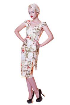 Hawaiian Waterfall Dress in birds of paradise print - Vanity Project by Limb